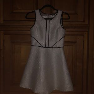 Girl's White/Silver Dress with Black Details